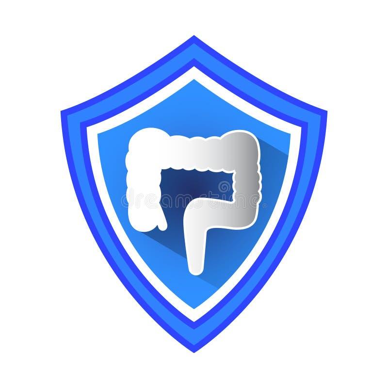 Bouclier de protection de gros intestin illustration stock