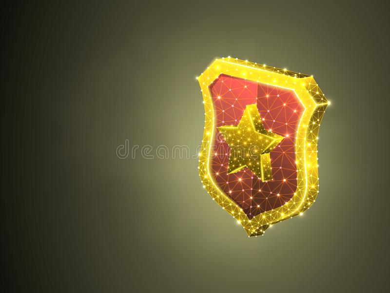 Bouclier de sécurité avec le concept polygonal coloré d'affaires du vecteur 3d d'abrégé sur signe d'étoile de la protection Bas p illustration libre de droits