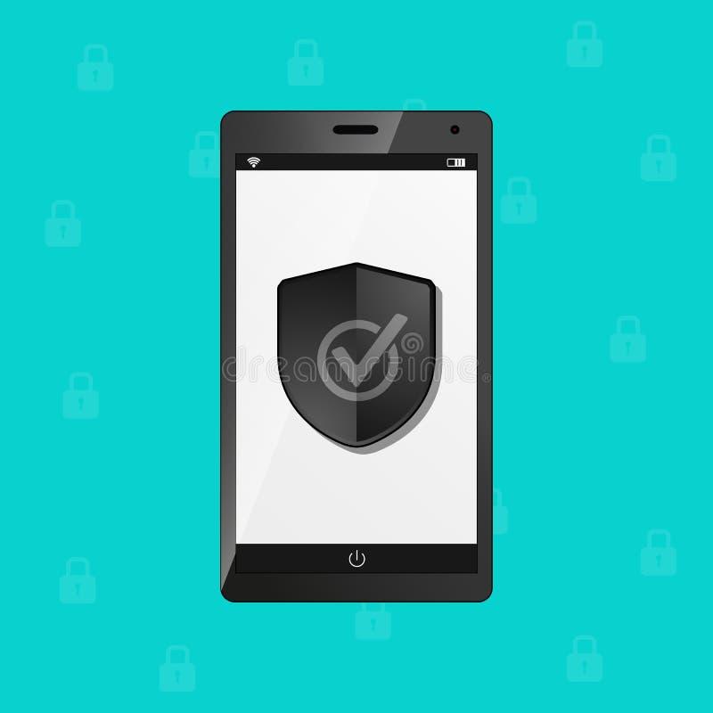 Bouclier de sécurité de protection de téléphone portable, concept d'antivirus de pare-feu d'Internet - illustration de vecteur -  illustration libre de droits