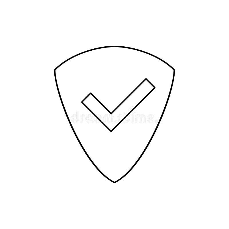 bouclier de signe avec une icône de coutil Élément de Web pour le concept et l'icône mobiles d'applis de Web Ligne mince icône po illustration libre de droits