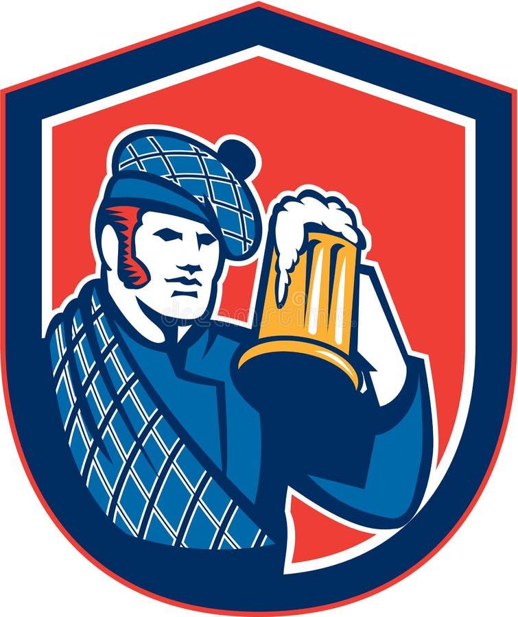 Bouclier de tasse de buveur de bière de Scotsman rétro illustration libre de droits