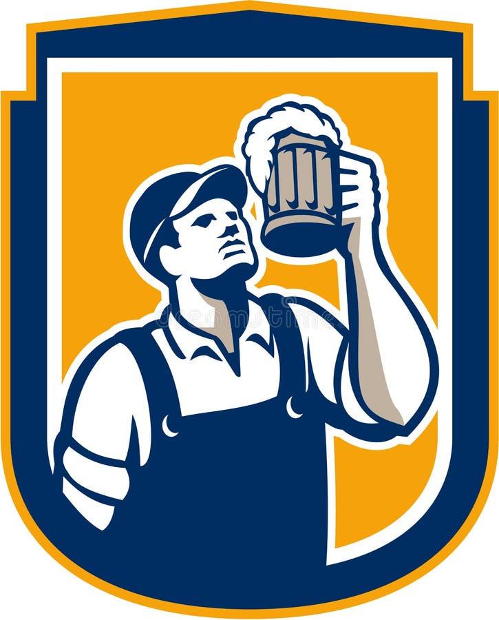 Bouclier de Toast Beer Mug de barman rétro illustration libre de droits