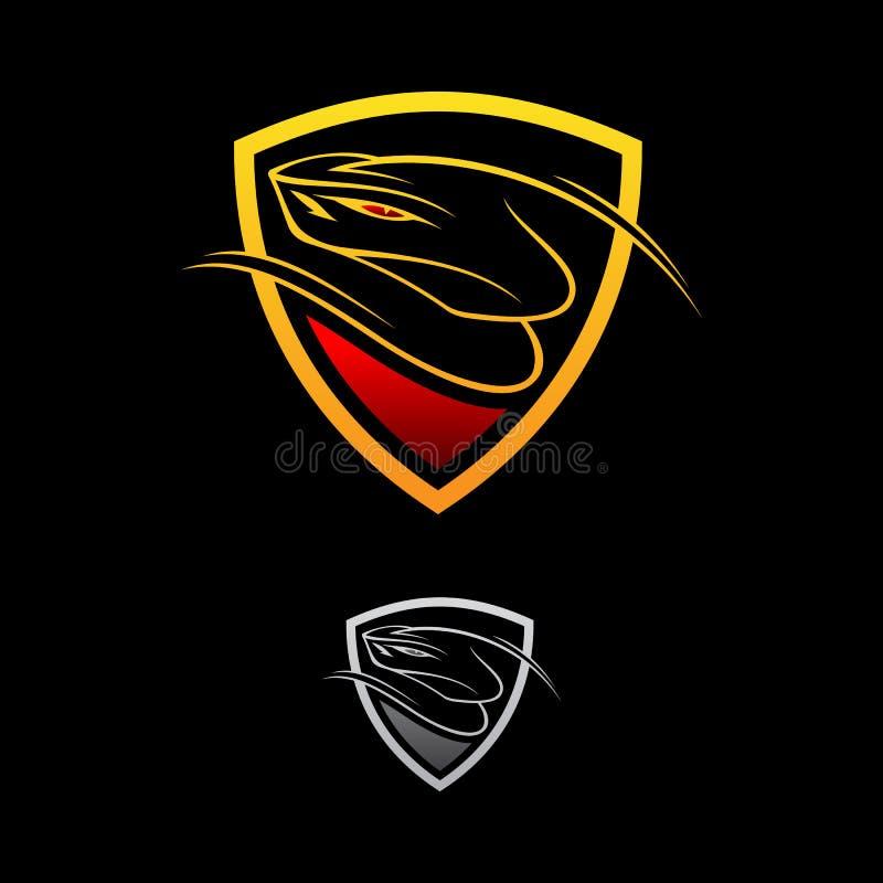 Bouclier de vipère de conception de logo de vecteur sur le fond noir illustration libre de droits