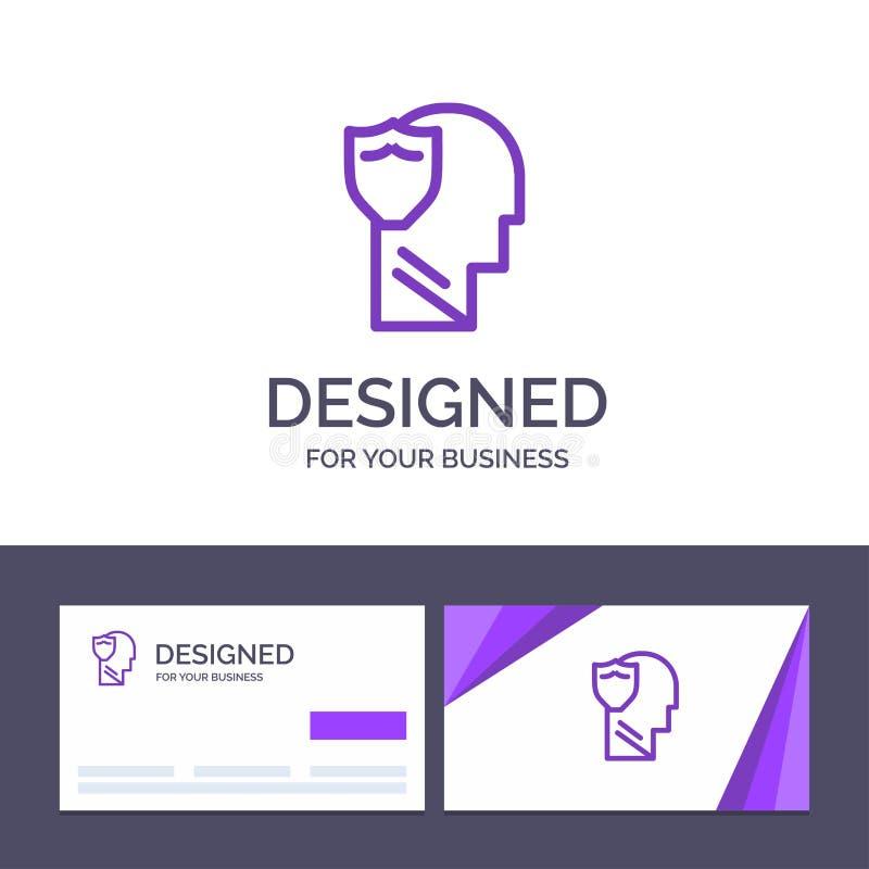 Bouclier de visite de calibre créatif de carte de visite professionnelle et de logo, sûr, masculin, utilisateur, illustration de  illustration stock