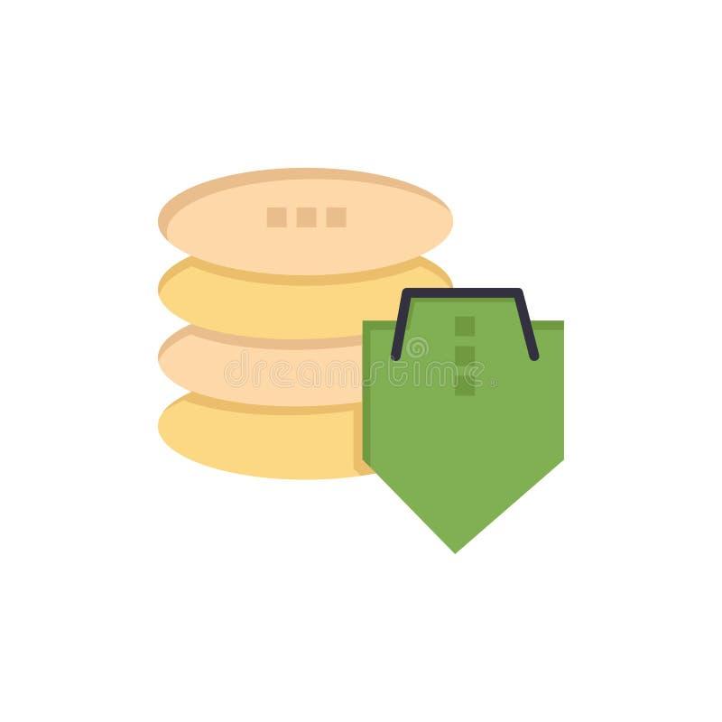 Bouclier, dollar, sécurité, icône plate sûre de couleur Calibre de bannière d'icône de vecteur illustration libre de droits