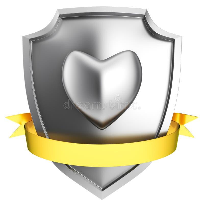 Bouclier en acier de coeur illustration de vecteur
