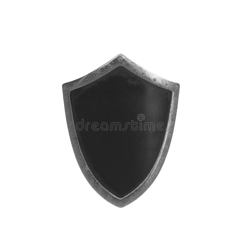Bouclier en métal de bataille sur le fond blanc photos libres de droits