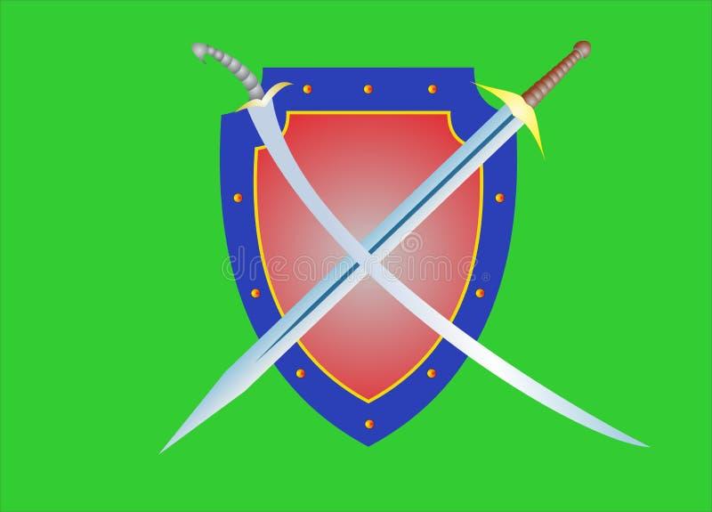 Bouclier et épée illustration de vecteur
