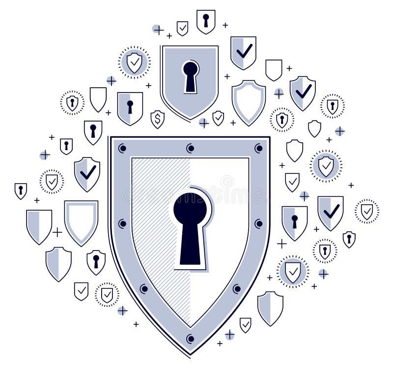 Bouclier et ensemble d'icônes, de concept de sécurité d'Internet, d'antivirus ou de pare-feu, protection de finances, ligne mince illustration libre de droits