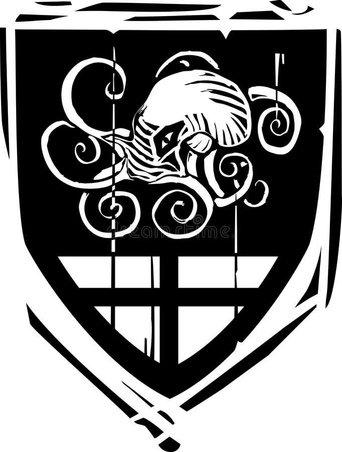 Bouclier héraldique Kraken illustration libre de droits