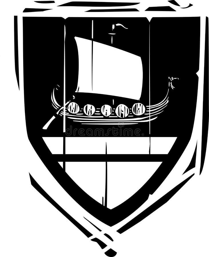 Bouclier héraldique Viking Longship illustration libre de droits