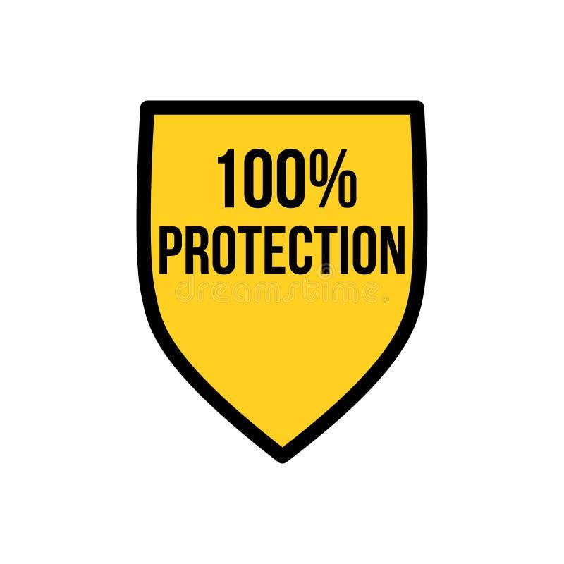 Bouclier jaune calibre de conception d'icône de logo de protection de 100 pour cent, protection de la vie privée ou concept de sé illustration stock