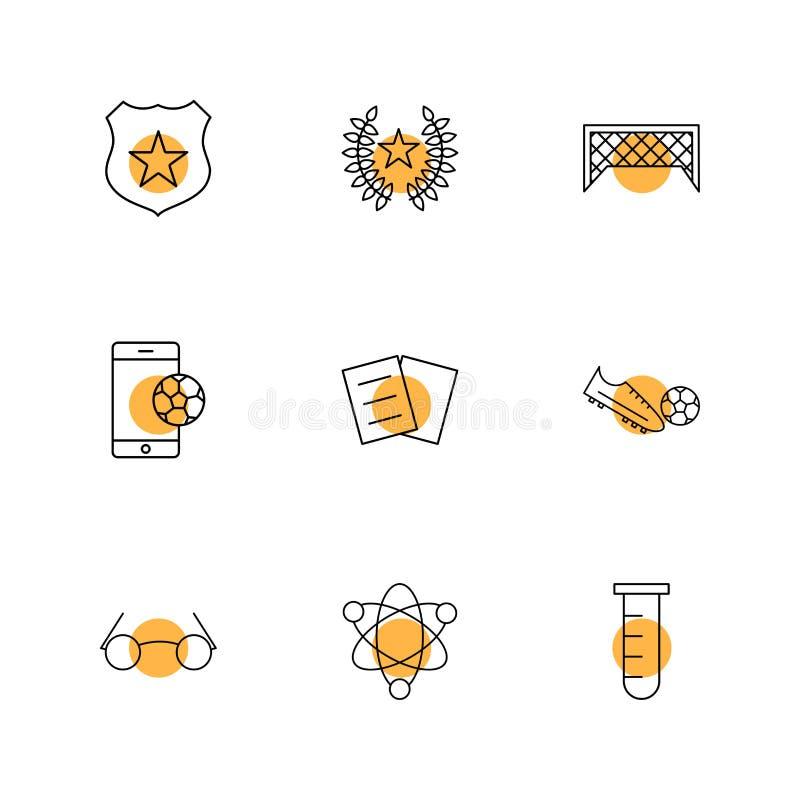 Bouclier, le football, but, mobile, coup-de-pied, produit chimique, nucléaire, e illustration stock