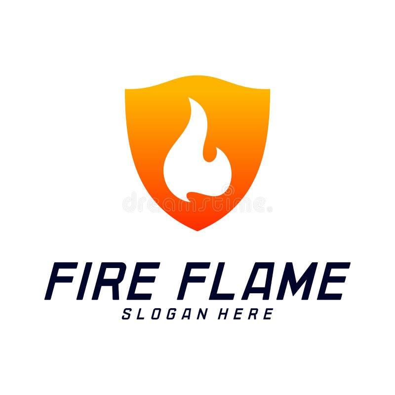 Bouclier Logo Design Vector Template du feu Le feu Logo Concept de bouclier Symbole d'ic?ne illustration de vecteur