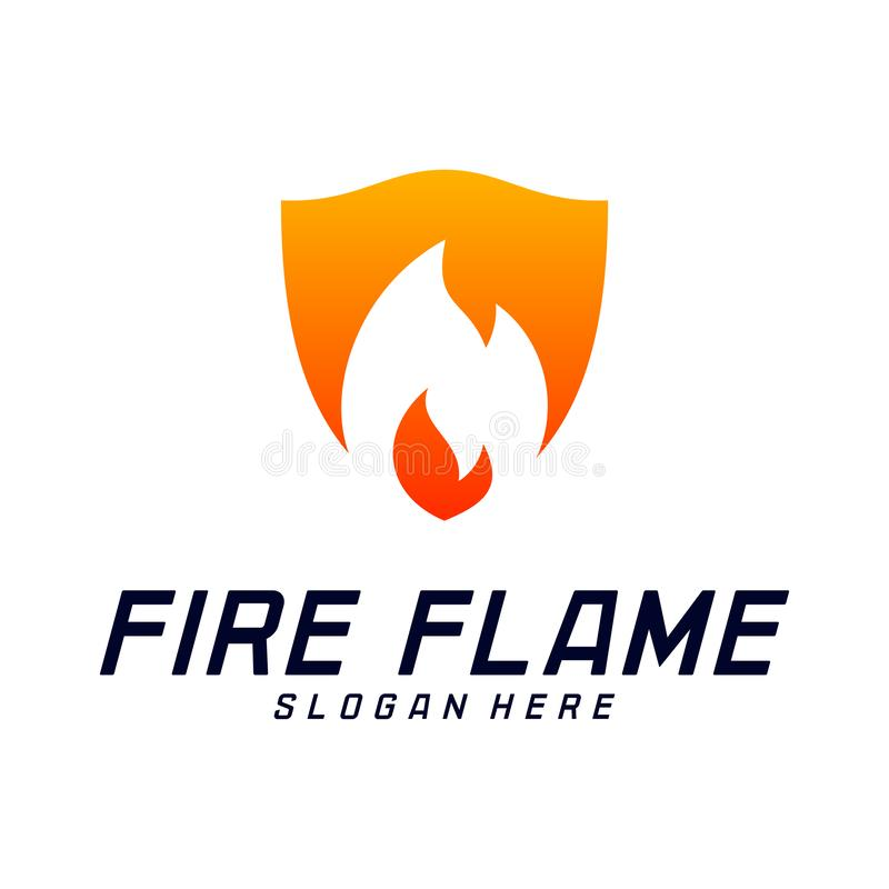 Bouclier Logo Design Vector Template du feu Le feu Logo Concept de bouclier Symbole d'ic?ne illustration stock