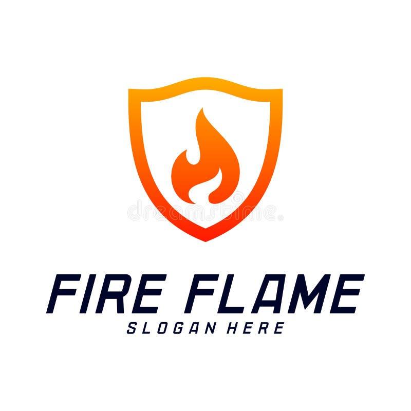 Bouclier Logo Design Vector Template du feu Le feu Logo Concept de bouclier Symbole d'ic?ne illustration libre de droits