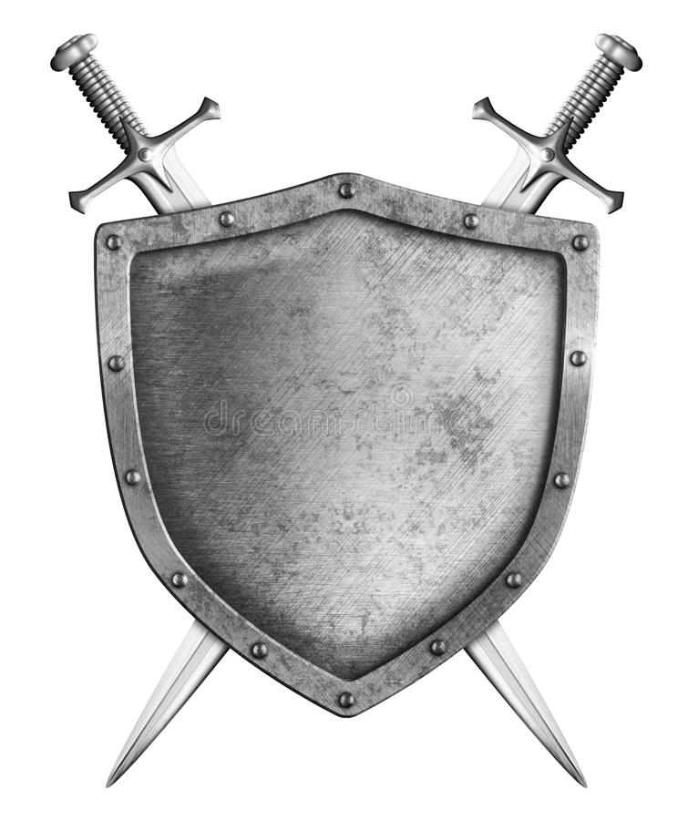 Bouclier médiéval avec deux épées d'isolement image stock