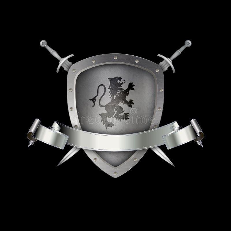 Bouclier médiéval avec le ruban argenté, le lion héraldique et les épées illustration libre de droits