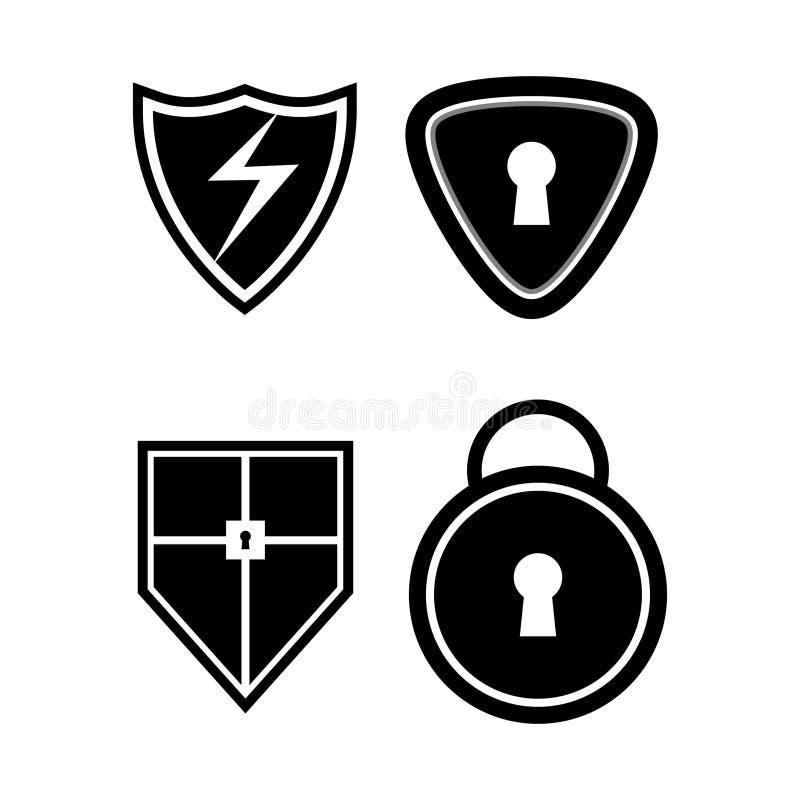 Bouclier noir, emblème, clé, scénographie de protection de sécurité d'icône image libre de droits