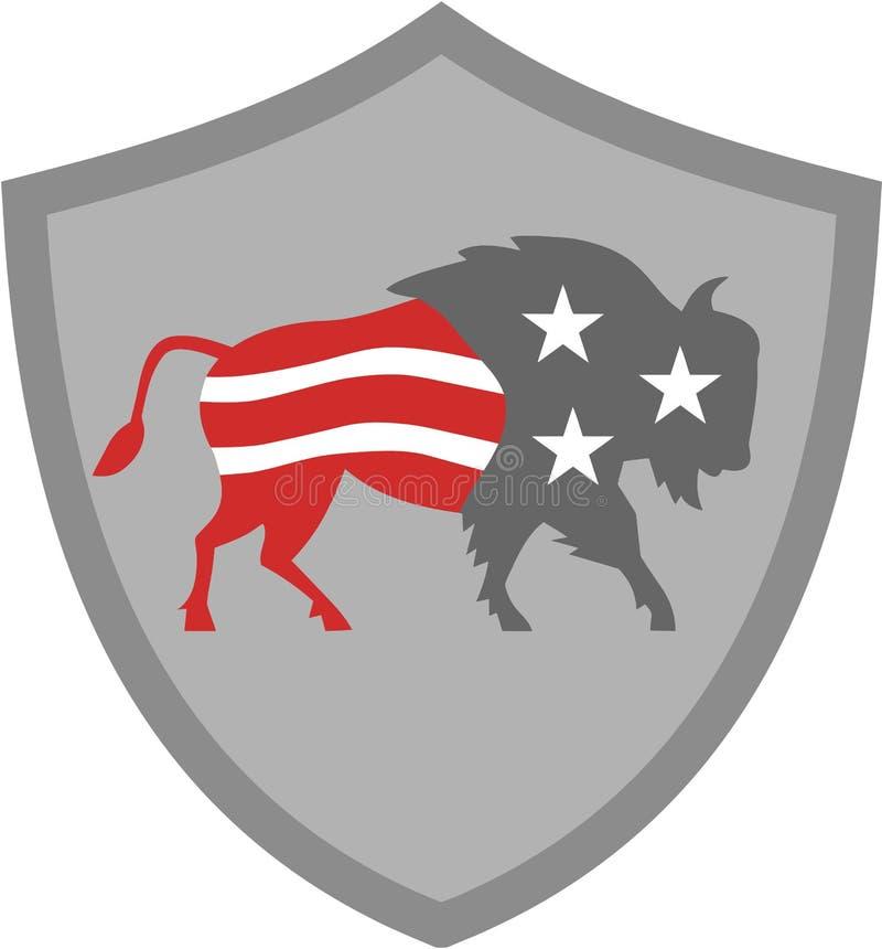 Bouclier nord-américain de drapeau des Etats-Unis de bison rétro illustration libre de droits