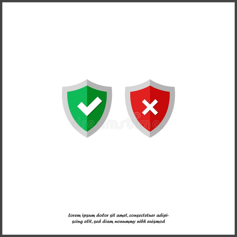 Bouclier réglé d'illustration de vecteur avec le coutil vert et la Croix-Rouge Symbole de la protection et de la fiabilité sur le illustration stock