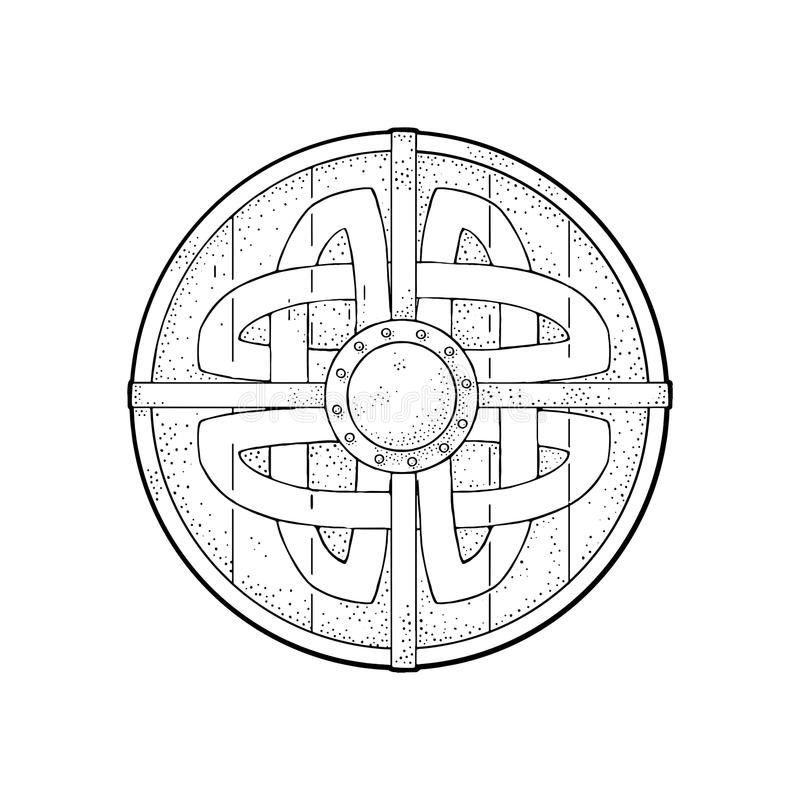 Bouclier rond en bois avec des runes de Viking Gravure de noir de vecteur de vintage illustration stock