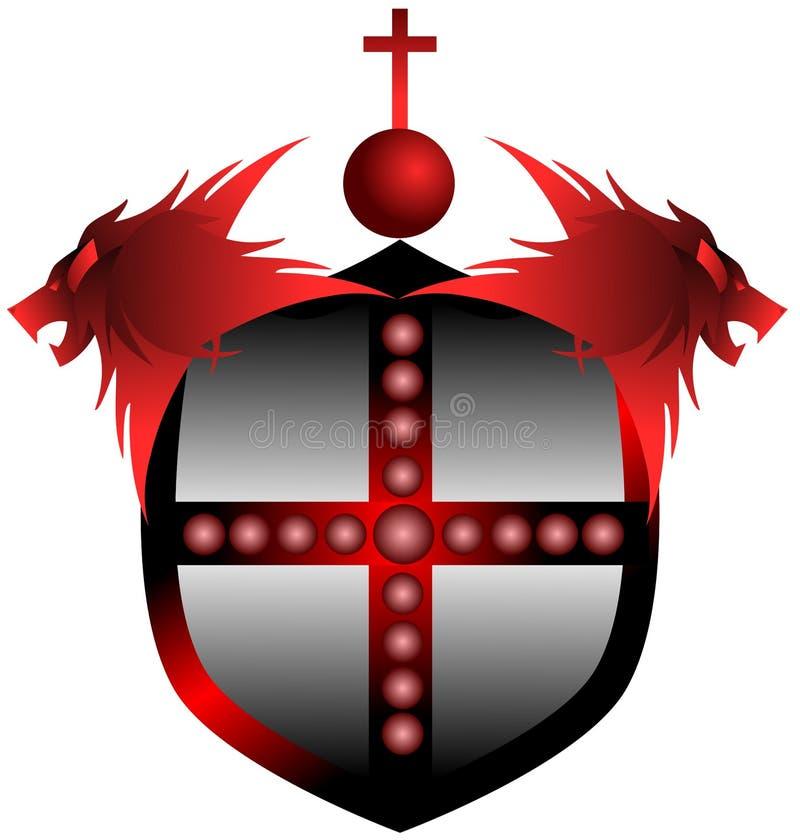 Bouclier rouge avec les lions et la croix illustration stock