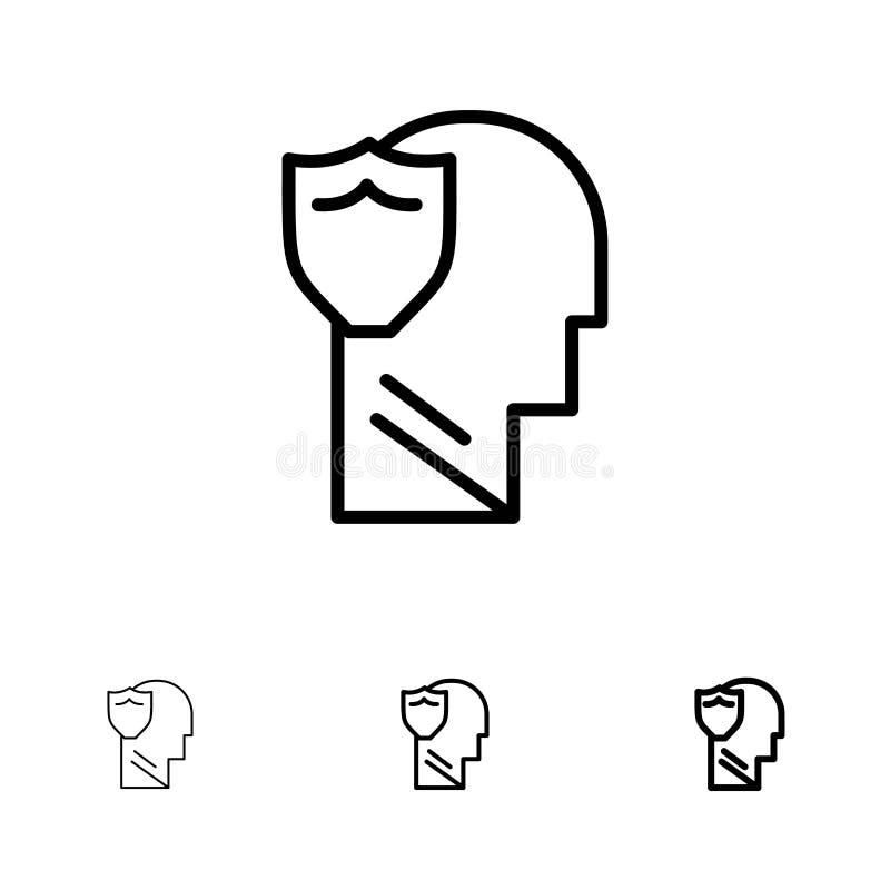 Bouclier, sécuriser, masculin, utilisateur, données en gras et mince ensemble d'icônes de ligne noire illustration libre de droits