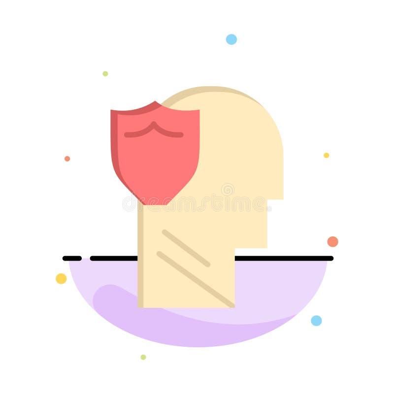Bouclier, sûr, masculin, utilisateur, calibre plat abstrait d'icône de couleur de données illustration de vecteur