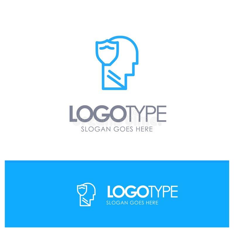 Bouclier, sûr, masculin, utilisateur, contour bleu Logo Place de données pour le Tagline illustration de vecteur
