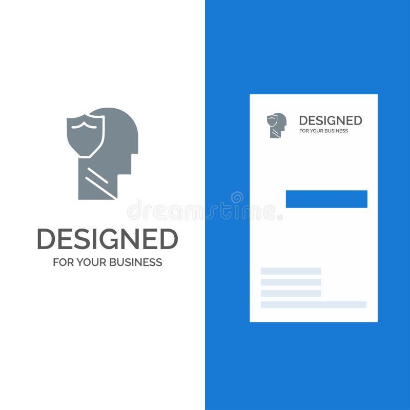 Bouclier, sûr, masculin, utilisateur, données Grey Logo Design et calibre de carte de visite professionnelle de visite illustration libre de droits