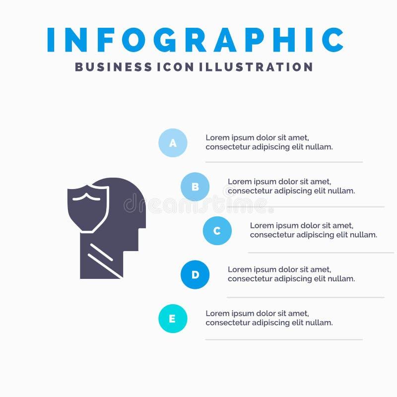 Bouclier, sûr, masculin, utilisateur, fond solide de présentation d'étapes d'Infographics 5 d'icône de données illustration libre de droits