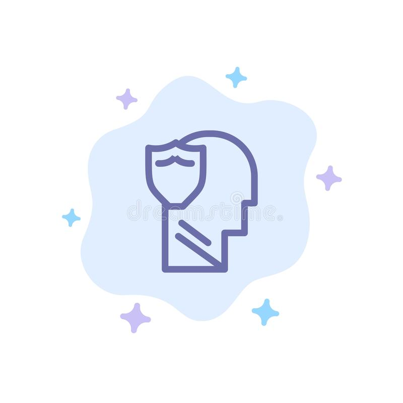 Bouclier, sûr, masculin, utilisateur, icône bleue de données sur le fond abstrait de nuage illustration stock