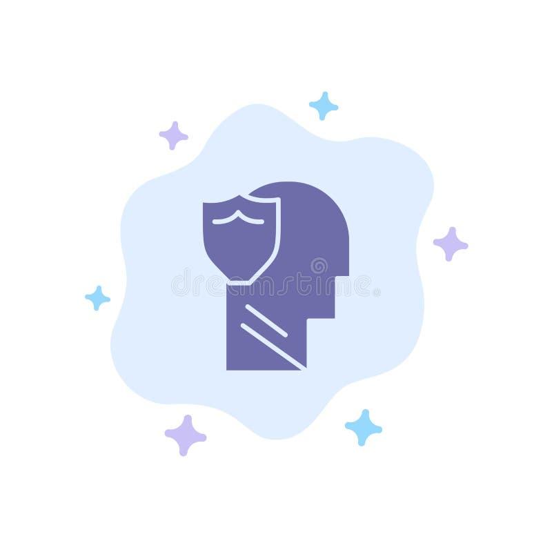 Bouclier, sûr, masculin, utilisateur, icône bleue de données sur le fond abstrait de nuage illustration de vecteur