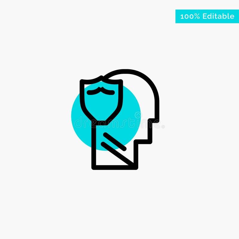 Bouclier, sûr, masculin, utilisateur, icône de vecteur de point de cercle de point culminant de turquoise de données illustration libre de droits