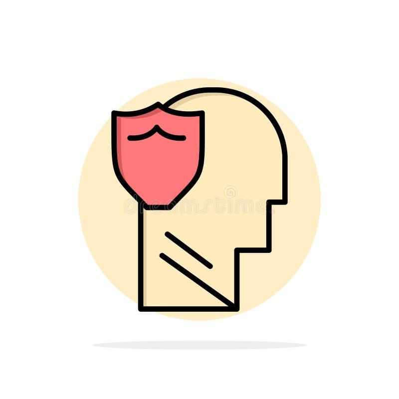 Bouclier, sûr, masculin, utilisateur, icône plate de couleur de fond abstrait de cercle de données illustration de vecteur