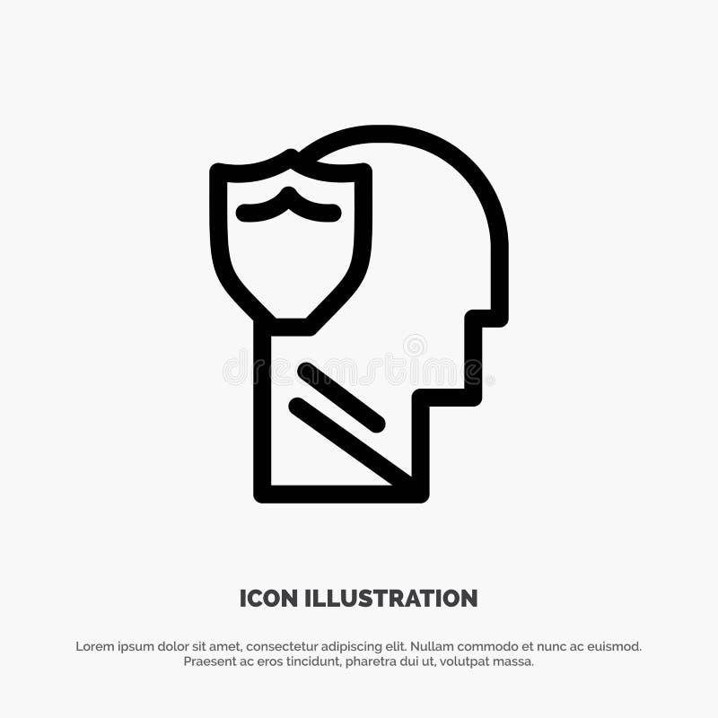 Bouclier, sûr, masculin, utilisateur, ligne de données vecteur d'icône illustration de vecteur