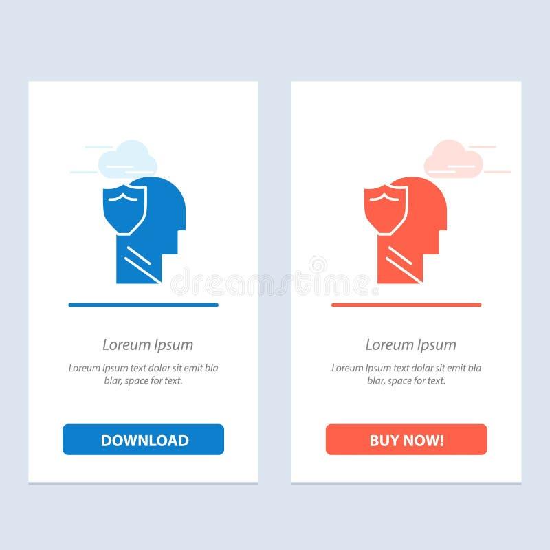 Bouclier, sûr, masculin, utilisateur, téléchargement bleu et rouge de données et acheter maintenant le calibre de carte de gadget illustration stock