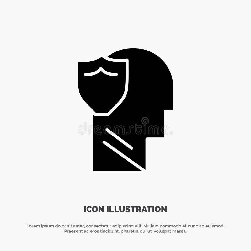 Bouclier, sûr, masculin, utilisateur, vecteur solide d'icône de Glyph de données illustration stock
