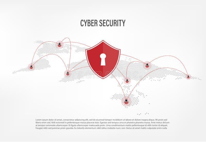 Bouclier sur le fond de pirate informatique d'Internet illustration stock