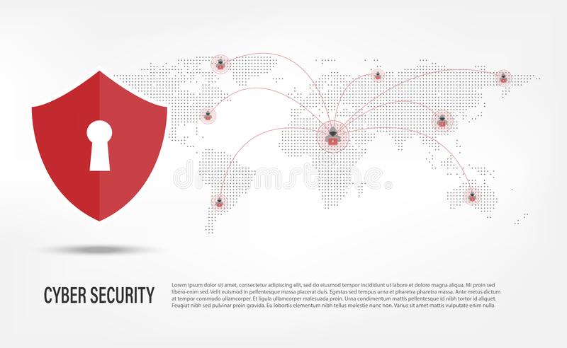 Bouclier sur le fond de pirate informatique d'Internet illustration de vecteur