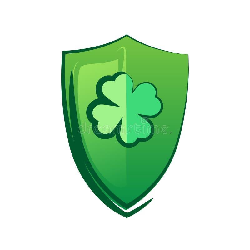 Bouclier vert avec le trèfle chanceux - symbole celtique pour le saint Patrick Day illustration libre de droits