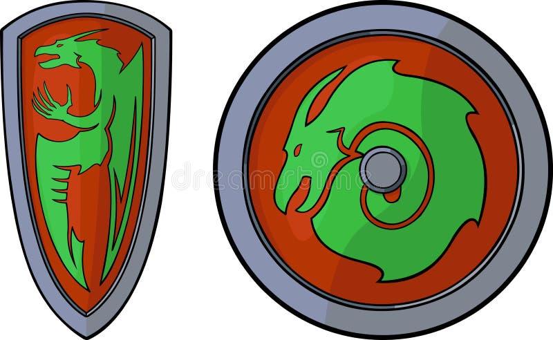 Boucliers et dragons illustration stock