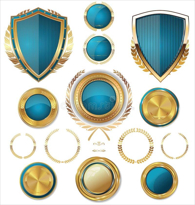 Boucliers, labels et lauriers d'or, édition bleue illustration stock