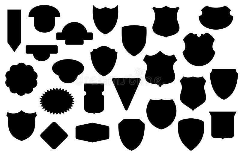 Boucliers noirs ensemble, modèle de bouclier illustration de vecteur