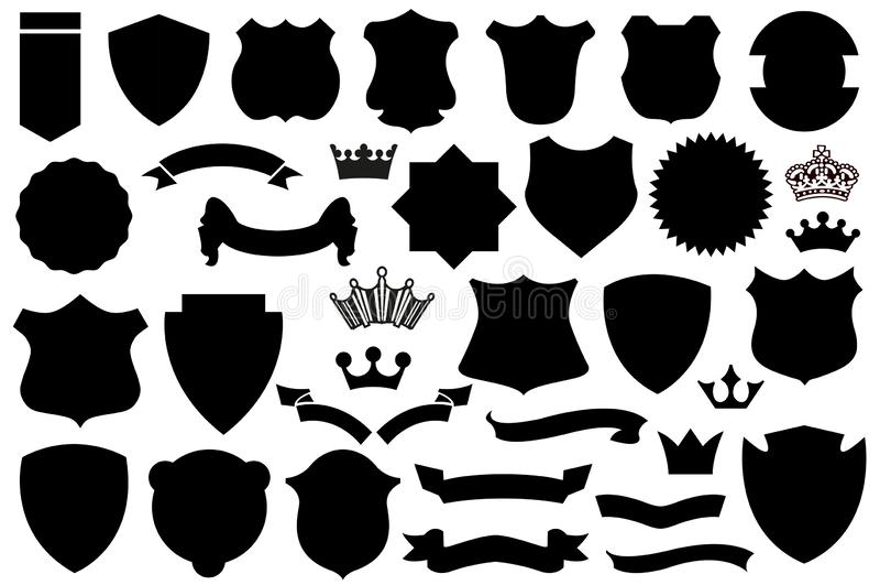 Boucliers noirs ensemble, modèle de bouclier illustration stock