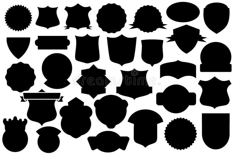 Boucliers noirs ensemble, modèle de bouclier illustration libre de droits