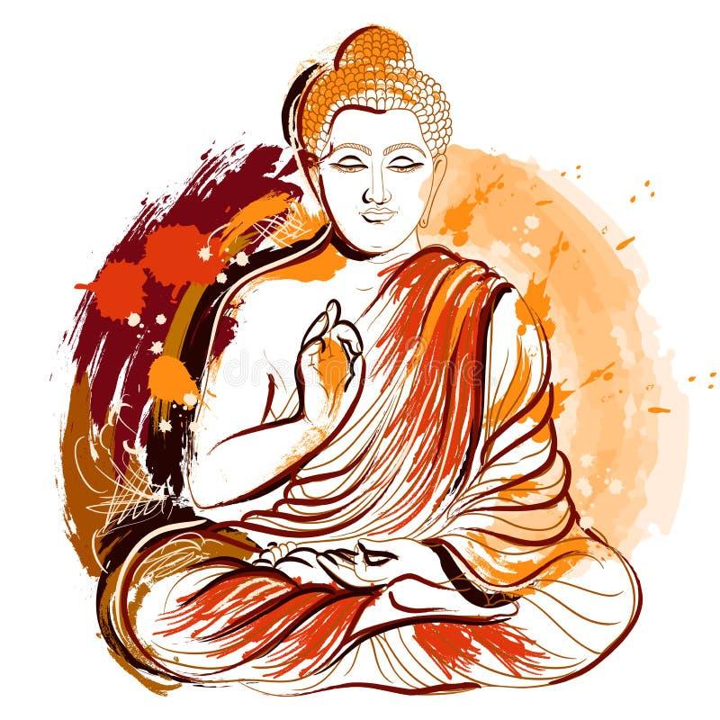 bouddha Art grunge tiré par la main de style Rétro illustration colorée de vecteur illustration de vecteur