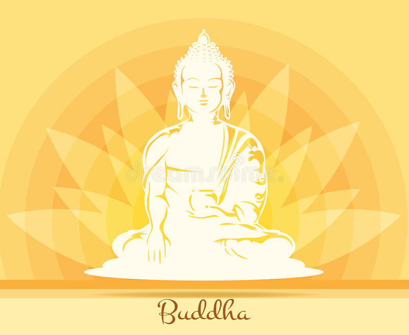 Bouddha avec la fleur de lotus illustration de vecteur - Fleur de lotus bouddhisme ...