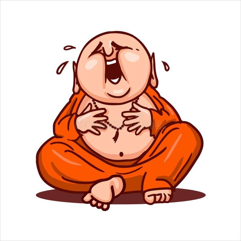 Bouddha drôle s'assied en position de lotus, rit fort et s'accroche au ventre photo libre de droits